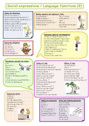 English Worksheets: Social expressions / Language functions (2) plus B&W