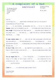 English Worksheet: A complaint of a bad service3