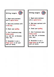 English Worksheets: Writing Targets
