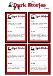 English Worksheets: ADVANCED SPEAKING CARDS - Dark Stories - Yes/No Questions - Part 1