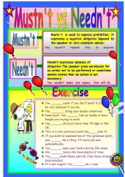 English Worksheets: Mustn�t vs Needn�t