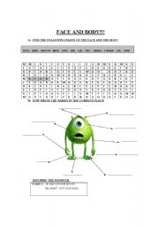 English Worksheet: parts of the body and description