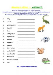 English Worksheets: Missing Letters - Animals  #intermediate or advanced#