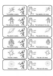 English Worksheets: This, That, These and Those Cards with Aliens and Space Objects (24 Cards in All)