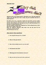 English Worksheets: DINOSAURS� EXTINCTION
