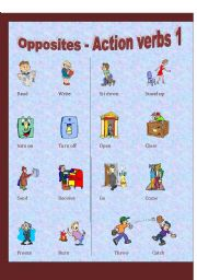 English Worksheets: Action Verbs - Opposites (1 of 3)