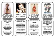 English Worksheet: Famous people speaking cards (was,were) part 3