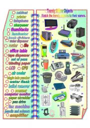 English Worksheet: Trendy Office Objects**fully editable with answer key