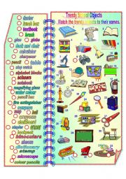 English Worksheet: Trendy School Objects**fully editable with answer key
