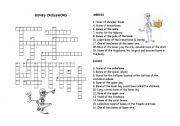 English Worksheet: Bones crossword