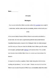 English Worksheets: watergate reading comprehension