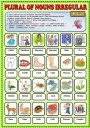 English Worksheet: Plural of Nouns Irregular Pictionary