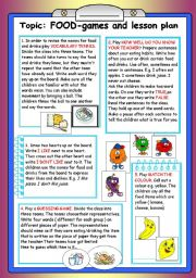 English teaching worksheets food games - Game design lesson plans for teachers ...