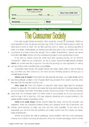 English Worksheet: The Consumer Society (11th grade) + correction