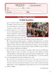 English Worksheet: Multicultural Society (11th grade) + correction
