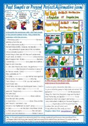 English Worksheet: Past Simple or Present Perfect(Affirmative form)(+ Key)