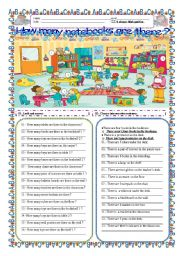 English worksheet:  How many _______________ are there ?