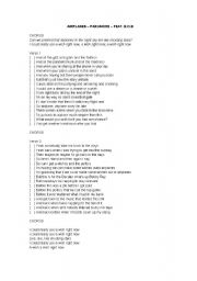 English Worksheets: Airplanes - Paramore feat. B.O.B.