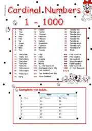 English Worksheet: cardinal numbers 1 - 1000