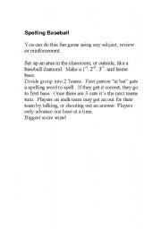 English Worksheet: Baseball Spelling Game