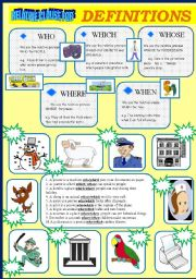 English Worksheets: RELATIVE CLAUSE FOR DEFINITIONS (3 PAGES)