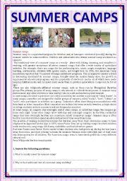 English Worksheet: SUMMER CAMPS