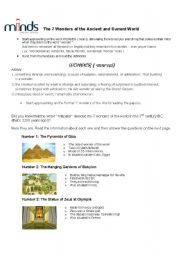 English Worksheets: The 7 wonders