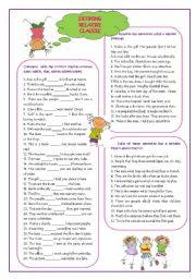 English Worksheet: Defining relative clauses