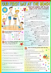 English Worksheet: FIRST DAY AT THE BEACH  (B&W VERSION+KEY INCLUDED)