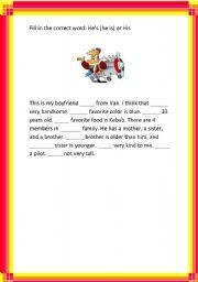 English worksheet:  His vs. He´s.