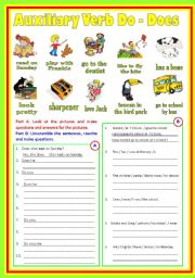 English Worksheets: Auxiliary Verbs (B/W & Keys)