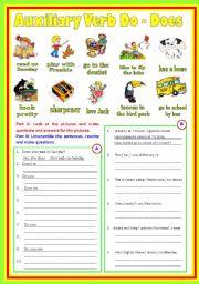 English Worksheet: Auxiliary Verbs (B/W & Keys)