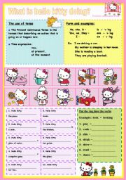 English Worksheet: what is hello kitty doing?
