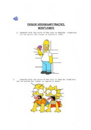 English Worksheets: BODY�S PRACTICE VOCABULARY