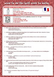 English Worksheet: used to do/(be/get) used to doing