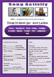 English Worksheet: SONG ACTIVITY - Things I´ll Never Say (Avril Lavigne) - Present Continuous