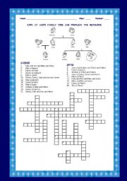 English Worksheet: FAMILY TREE - CROSSWORDS - with ANSWER  KEY
