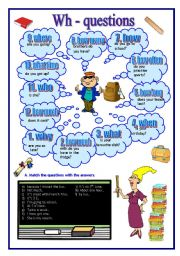English Worksheets: Wh-questions+key (04.06.10)