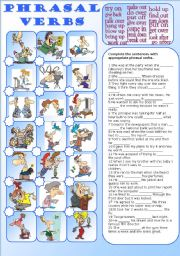 English Worksheet: phrasal verbs (with key)