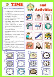 English Worksheets: Time and Activities  (b/W & Keys)