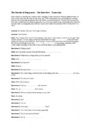 English Worksheet: The Interview - Pursuit of Happyness (cloze ex)