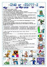 English Worksheets: -ING or -ED ?? -2