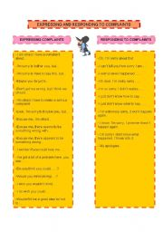 English Worksheet: Expressing and Responding to Complaints