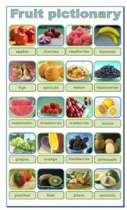English Worksheet: FRUIT, PICTIONARY