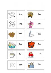 English worksheets: Word dominoes - word recognition