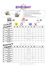 English Worksheets: Bombs Away! Grammar practice using IS/ARE THERE