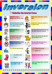English Worksheet: Inversion (2/2)