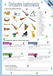 English Worksheet: ORCHESTRA INSTRUMENTS