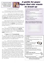 English Worksheets: A guide for guys: signs that she wants to break up