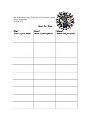 English Worksheets: Class chart